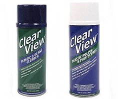 Great for Jeeps and motorcycles: Clear View Plastic and Glass Cleaner... and Protectant.