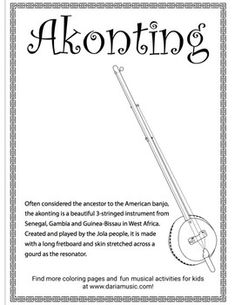 This freebie coloring page introduces you to the akonting from West Africa, often considered the ancestor to the American banjo. Africa Activities For Kids, Teaching Kids, Teaching Resources, African Traditions, Global Awareness, Map Skills, Music For Kids, Black History Month, Banjo