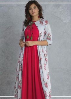 Simple Kurti Designs, Stylish Dress Designs, Kurta Designs Women, Dress Neck Designs, Saree Blouse Designs, Stylish Dresses, Shrug For Dresses, Indian Gowns Dresses, Kurti With Jacket