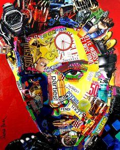 Calling Elvis #illustration #collage #elvis #картина #interiordesignmoscow #contemporaryart #visualart #artwork  #sashabom #саша_бом… Collage Portrait, Painting Collage, Collage Art, Collage Ideas, Art Paintings, Magazine Collage, Magazine Art, Collage Kunst, Collages