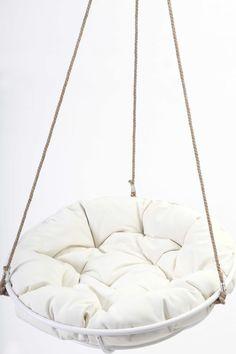 Elegant Cool Hanging Papasan Chair For Your Beloved Family: Cozy White Framed Hanging  Papasan