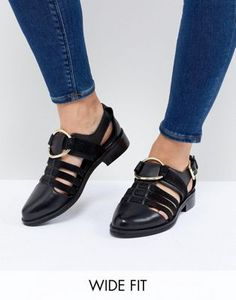 95e0f10112fb ASOS DESIGN Virgo Wide Fit Flat Shoes Grunge Fashion