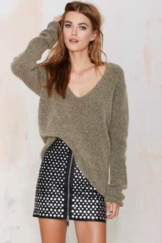 Just Female Voice Wool Ribbed Sweater - Free Fall