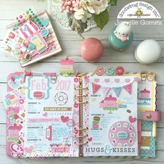 Jomelle created using Doodlebug Design's new Valentine collection Cream & Sugar in an planner using the Donuts and the coffee cup paper clips and embellishments Cute Planner, Planner Layout, Blog Planner, Planner Pages, Happy Planner, Planner Stickers, Planner Ideas, Filofax, Digital Bullet Journal