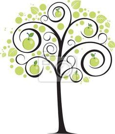 Fotomurale un albero con rami curvi mele verdi e foglie