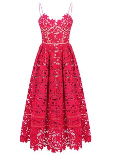 Red Spaghetti Strap Backless Lace Crochet Dress | Choies