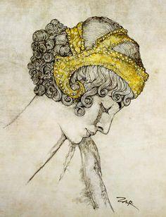 Watercolor illustration, fine art portrait print, art nouveau poster, print painting from Etsy