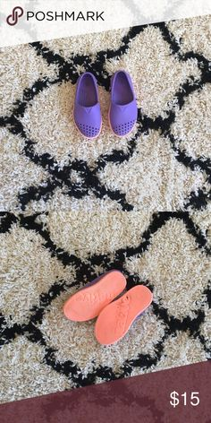 Toddler natives Purple and neon pink Native Shoes