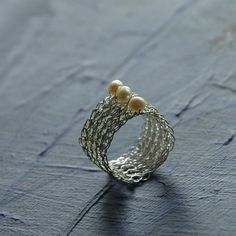 Silver Pearl Ring , Pearl Jewelry , Wire Crochet Jewelry , Water Pearl