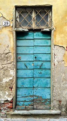 Lucca, Tuscany, Italy, blue door, weathered, aged, old, decay, beauty, #29, step, architechture, photograph, photo