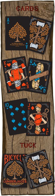 """Vadim Smolenskiy is raising funds for BICYCLE® The Lumberjacks - Edition Playing Cards on Kickstarter! The Edition of the """"Lumberjack"""" themed Bicycle® playing cards. 56 custom cards, made in the USA and printed by USPCC. Cool Playing Cards, Custom Playing Cards, Custom Cards, Tarot, Doodle Characters, Bicycle Cards, Board Game Design, Deck Of Cards, Card Deck"""