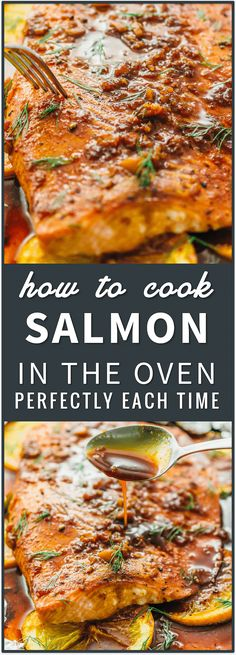Learn how to cook salmon in the oven perfectly every time using this easy foolproof recipe. in a pan, on the grill, in foil, frozen salmon, baked, pan seared, best, patties, healthy, salad, dinner, honey, blackened via @savory_tooth Baking Salmon In Oven, Oven Cooked Salmon, Salmon In Oven Foil, Salmon Cooking Time, Pan Seared Salmon, Baked Salmon Recipes Healthy, Salmon In Oven Recipes, Best Salmon Recipe Baked, Honey Baked Salmon