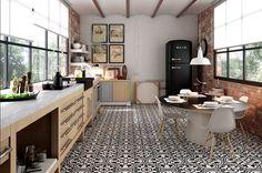 Land Porcelanico's Nouveau Tiles Collection mixes the modernist hydraulic tile design with realistic concrete graphics and texture. Kitchen Interior, Kitchen Decor, Kitchen Design, Kitchen Tiles, Kitchen Flooring, Imperial Tile, Patchwork Tiles, Architectural Materials, Artistic Tile