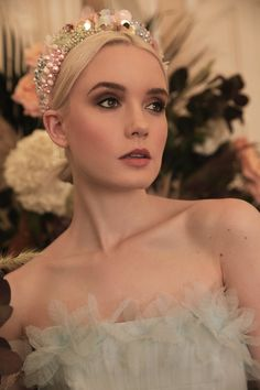 A Conversation With Victoria Percival – Designer of the Most Beautiful Statement Headpieces and Acce Pink and grey pearl wedding hair band bridal headpiece by Victoria Percival Updo, Halo Collection, Hair Jewels, Crown Headband, Bridal Crown, Bridal Headpieces, Bridal Headbands, Bridal Hair, Blush Roses