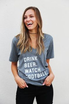 Drink Beer, Watch Football V-Neck Top - The Rage - 1