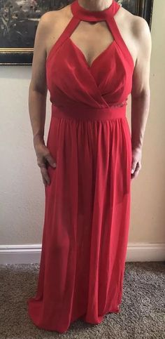 81639e450b7a4 BCBGeneration Womens Red Lace Formal New Strappy Back Halter Gown Dress Sz 8  Nwt | eBay