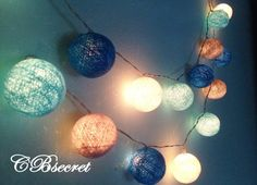 20 guirlandes de coton boule décor de partie par CottonBallSecret