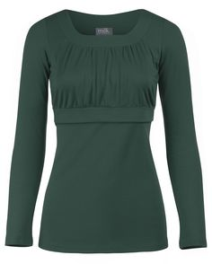Empire scoop neck nursing top in long sleeves