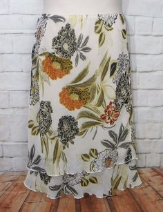 Womens CATO Multicolor Floral Elastic Waist Double Ruffled Hem Skirt Size Medium #Cato #StraightPencil