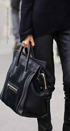 Mens Black Leather and Pony Carry All, by Celine. Men's Fall Winter Fashion.