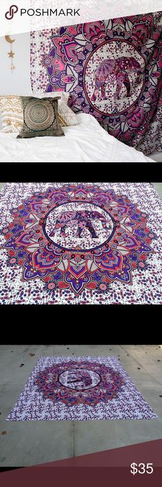 """elephant wall decor multiuse Handmade Tapestry Brand new.Handmade with natural dyes.   Uses: bed spread, couch spread, curtains, wallhangings, Celling decor, beach mat, picnic mat, table cloth, yoga & meditation.  Size: 90"""" X 84"""" inch ( Queen bed)   Material;100% Cotton  Wash: cold wash   #festival #bohohome #bohochic #bohostyle #hippylife #hippiekid #gypsylife #tapestry #mandala #yogamat #mandala #burningman, #birthdaygift, #beachtowel #bedspread #walldecor #gift #boho #hippy #gypsy…"""