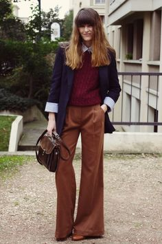 I really like wide leg pants and the classic/vintage feel they have. I also love a good blazer because blazers are my go to for layering in the office because I'm always cold. I also really like the preppy sweater/collared shirt combo.