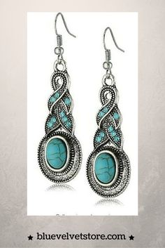 Yazilind Ethnic Tibetan Silver Oval Rimous Turquoise Crystal Drop Dangle Earrings.  Earrings Length :2.23in;Material: Turquoise;Tibetan Silver, Non allergic,unique design makes you more confident Elegant and vintage design makes you much attention in social situations Christmas decorations,Thanksgiving day, wedding decorations party necessary. Any damage, poor quality and fitting ,30 Day Return Policy.  bluevelvetstore.com
