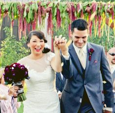 I draped Amaranthus over this wedding arch to create a sense of whimsy.