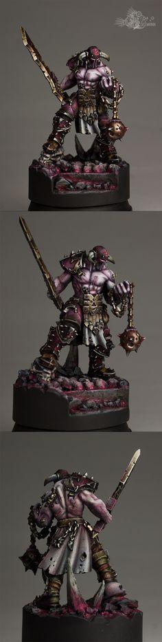 Slaughterpriest with Hackblade and Wrath-hammer.
