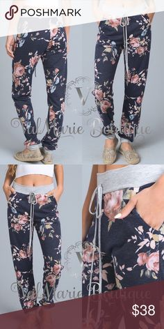 Floral French Terry Jogger Pants MADE IN USA- Super soft Floral French Terry Jogger lounge pants. Made of 85% Polyester 10% Rayon 5% Spandex. Fits true to size S(2-4) M(6-8) L(10-12) ValMarie Boutique LLC Pants