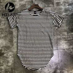 Check current price HZIJUE streetwear kpop hiphop clothes red white striped curved hem tee longline t shirts couples matching clothing justin bieber just only $10.32 with free shipping worldwide  #tshirtsformen Plese click on picture to see our special price for you