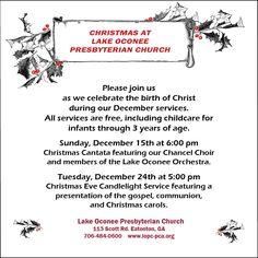 Join Lake Oconee Presbyterian Church for a Christmas Canata and a Christmas Eve Candlelight Service ✨ Christmas Eve Candlelight Service, Lake Oconee, The Birth Of Christ, Choir, Events, Greek Chorus, Choirs, Glee
