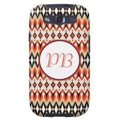Oriental tribal rhombus native pattern monogram galaxy SIII case #native #tribal #classic #duogram #case #name #custom #cover #gift #elegant #classy #girly