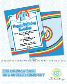 Rainbow Dash FIM 20 Cooler birthday label by MasterPeaceDesigns, $15.00