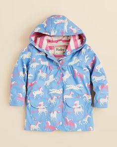 Hatley Girls' Hearts & Horses Rain Coat - Sizes 2-6