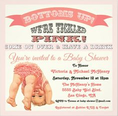 Adorable And Funny Bottoms Up Tickled Pink Baby Shower Invitation Easy To Customize