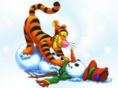 """Tigger """"bounced"""" a snowman.  cute   :0)"""