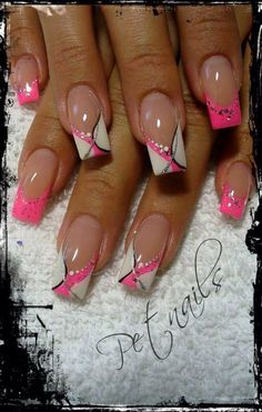 Pink white and black nails