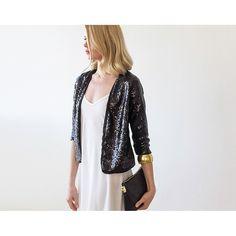 Black Sequin long sleeves sparkling jacket