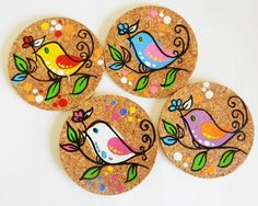 Items similar to handpainted cork coasters in a pretty bird design. on Etsy : Items similar to handpainted cork coasters in a pretty bird design. on Etsy Coaster Art, Tea Coaster, Coaster Design, Cork Crafts, Wooden Crafts, Barn Wood Crafts, Diy Crafts, Painted Bamboo, Painted Rocks