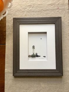 Pebble art with sea glass lighthouse, framed pebble art by sharon nowlan, lighthouse with couple, gift for couple