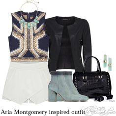 Aria Montgomery inspired outfit/PLL by tvdsarahmichele on Polyvore featuring Eloqueen, Maison Margiela, Dasein, Kate Spade, Melissa Joy Manning, women's clothing, women's fashion, women, female and woman