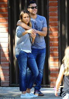 Cute couple: Jessica Alba and Cash Warren seemed to be more in the honeymoon period than e...