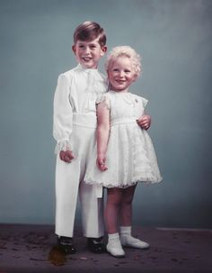 Coronation Day 1953. Prince Charles then 4 years old and his sister Princess Anne was 2 years old.  Portrait taken in their Coronation Day outfits. If you are a Baby Boomer you will remember this day.  Photo: nickverreos.com