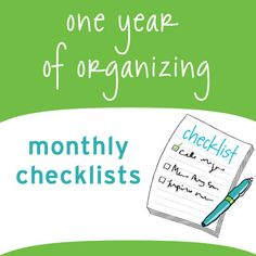 monthly organizing checklists—one for each month of the year.