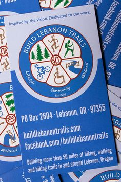 I've been handling the design needs of Build Lebanon Trails (a community organization in Lebanon, Oregon) for about a year now. Event calendar cards, event fliers, website, etc. If you happen to be a Lebanon, Oregon local who enjoys hiking/cycling/walking, be sure to follow what they're up to!