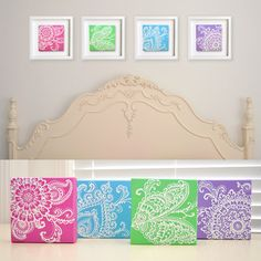 RESERVED- White on Fuschia Pink Floral - Henna Style Original Painting - 6x6 Canvas-  Includes Black 10x10 frame (4 set promo)