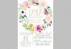 Boho Birthday Invitation, Printable, Girls, Wreath, Floral, Watercolor, Kids Birthday Invitation [86] by DesignAndDonuts on Etsy https://www.etsy.com/listing/247657722/boho-birthday-invitation-printable-girls