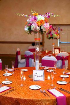 Florida Beach Wedding with Sunny Pinks and Oranges Tangerine Wedding, Fuschia Wedding, Orange Wedding, Fall Wedding, Wedding Flowers, Dream Wedding, Wedding Reception Themes, Wedding Ideas, Reception Ideas