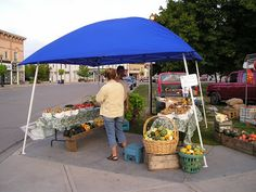 A Stand at the Goderich Farmers Market, downtown Goderich, Ontario.